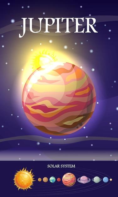 Jupiter planet. sun system. Vecteur Premium
