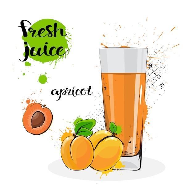Jus d'abricot frais dessinés à la main fruits aquarelle et verre sur fond blanc Vecteur Premium