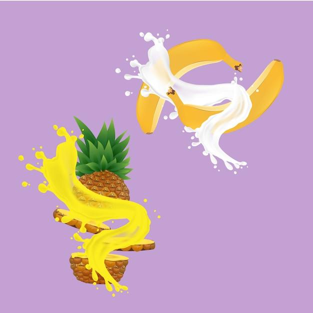 Jus D'ananas Et Bananes Vecteur Premium