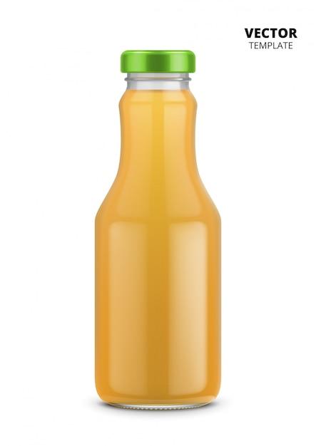 Jus de bouteille de verre maquette isolé Vecteur Premium