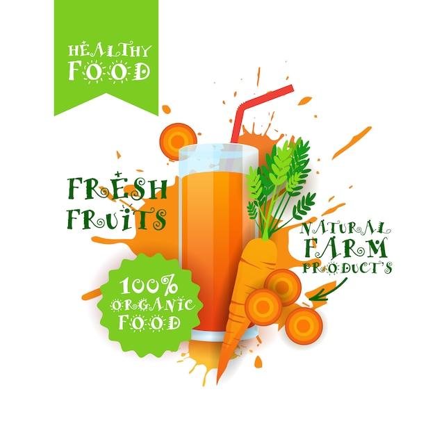 Jus de carotte frais logo produits alimentaires naturels étiquette de produits de la ferme sur éclaboussures de peinture Vecteur Premium