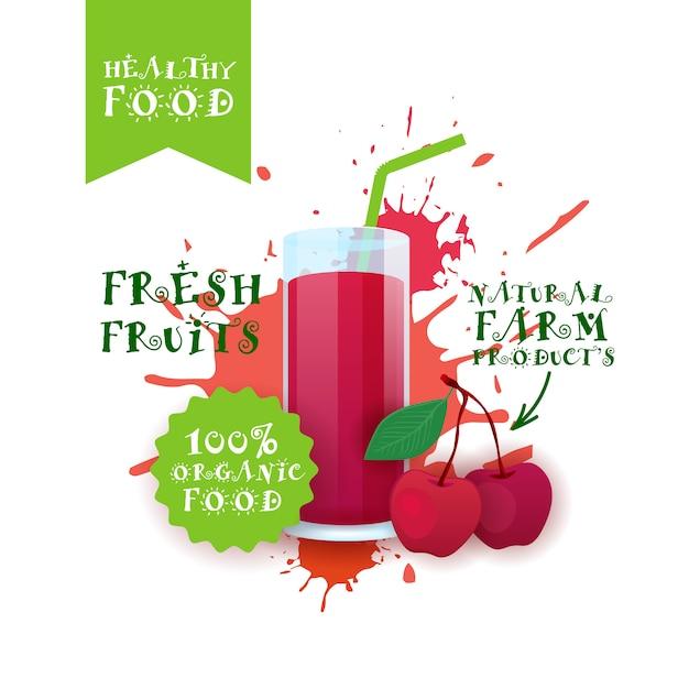 Jus de cerise frais logo produits alimentaires naturels étiquette de produits de la ferme avec éclaboussures Vecteur Premium