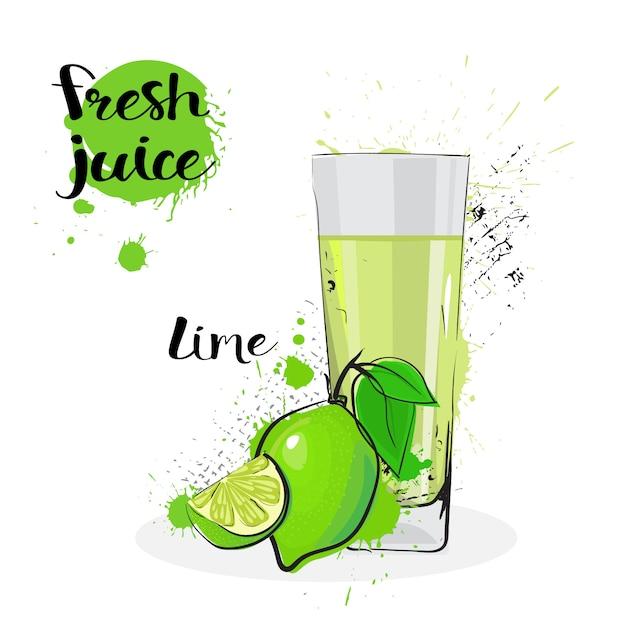 Jus de citron vert fruits aquarelle dessinés à la main et verre sur fond blanc Vecteur Premium