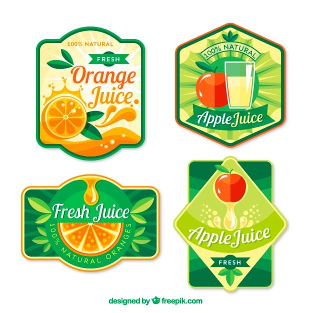 Jus de fruits étiquettes design plat Vecteur Premium