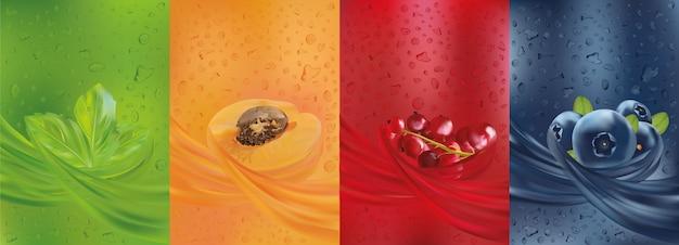 Jus De Fruits, Myrtille, Menthe, Abricot, Groseille Rouge Et Menthe Feuille Avec éclaboussures De Liquide Et Goutte De Jus. Vecteur Premium