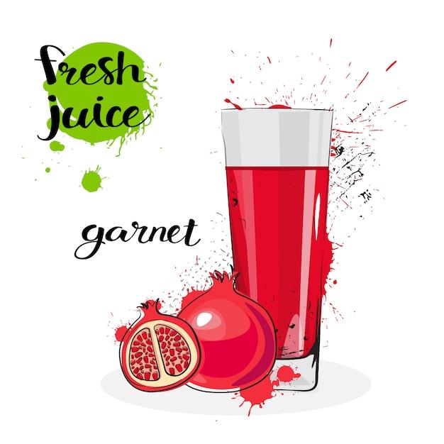 Jus de grenat fraîches dessinés à la main fruits aquarelle et verre sur fond blanc Vecteur Premium
