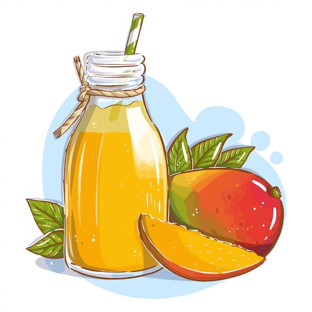 Jus de mangue dans une bouteille en verre avec une paille et des fruits de mangue Vecteur Premium