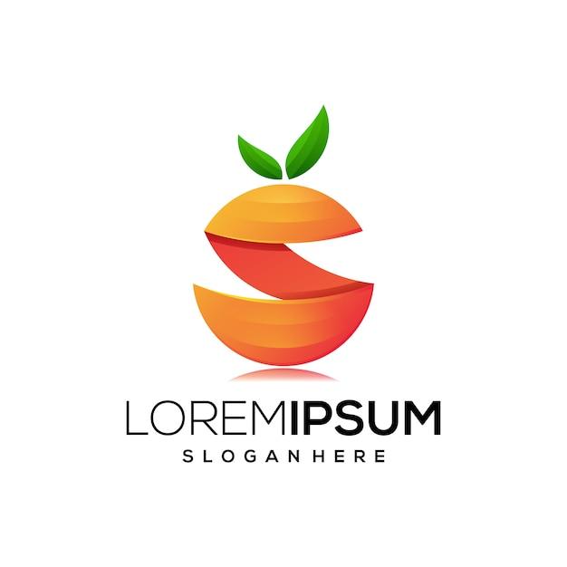 Jus nature icône logo coloré Vecteur Premium