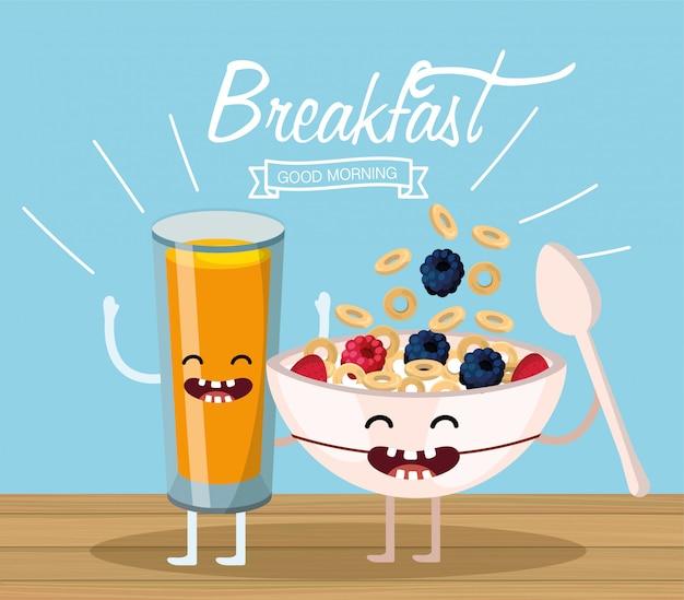 Jus d'orange heureux et une tasse de céréales et une cuillère Vecteur Premium
