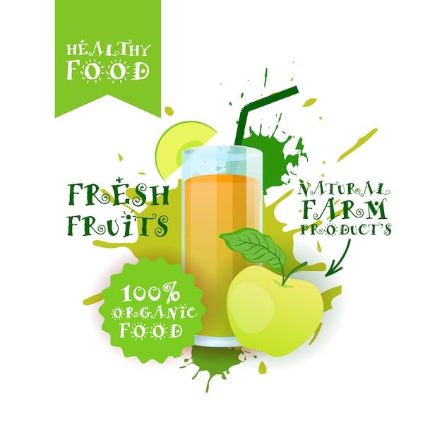 Jus de pomme frais logo alimentation naturelle étiquette de produits de la ferme sur peinture splash Vecteur Premium