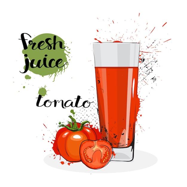Jus de tomate fraîches dessinés à la main aquarelle légume et verre sur fond blanc Vecteur Premium