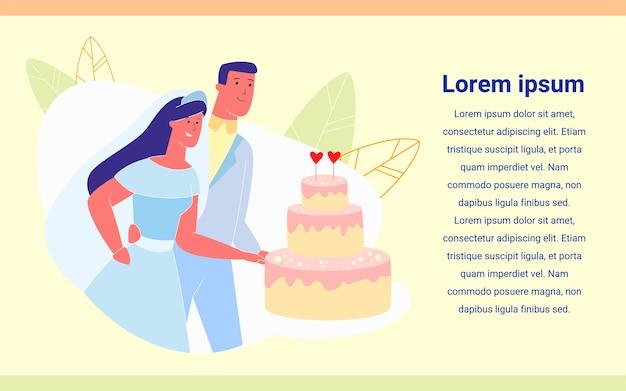 Juste marié couple heureux coupe le gâteau de fête Vecteur Premium
