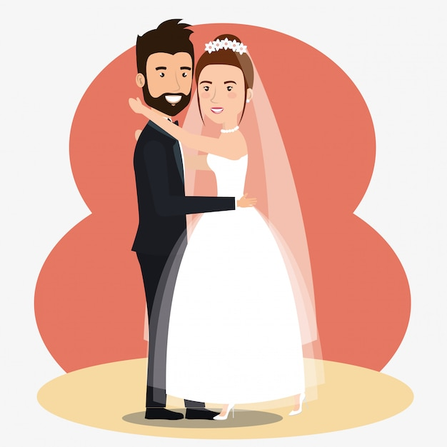 Juste mariés quelques personnages d'avatars dansant Vecteur gratuit