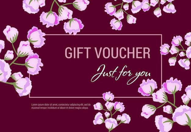 Juste pour vous un bon cadeau avec des fleurs lilas et un cadre sur fond vineux. Vecteur gratuit