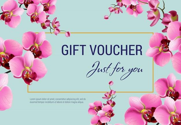 Juste pour vous, certificat-cadeau avec des fleurs roses et un cadre sur fond bleu clair. Vecteur gratuit