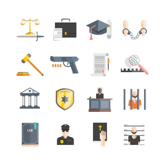 Justice icons set Vecteur gratuit