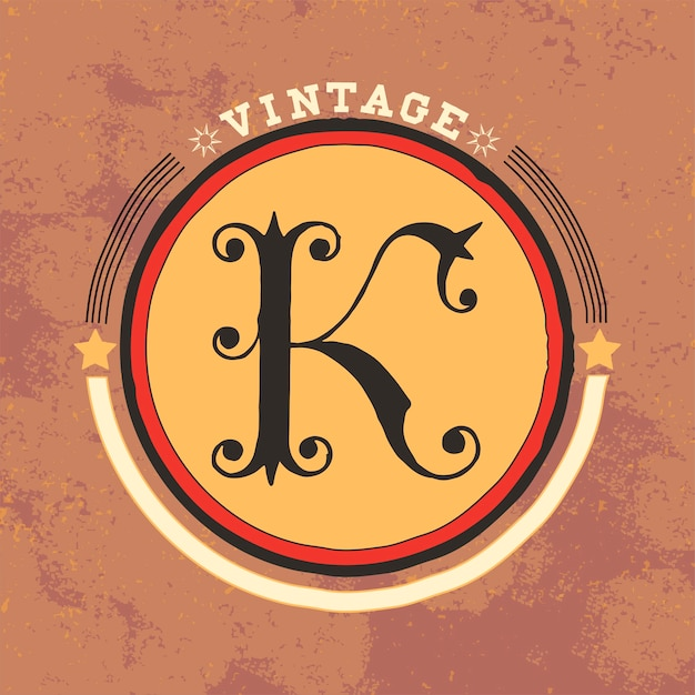 K Vector Design Logo Vintage Vecteur gratuit