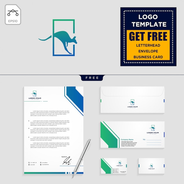 Kangourou logo modèle et conception de papeterie Vecteur Premium