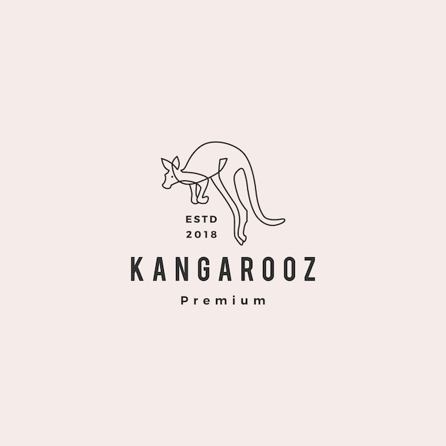 Kangourou logo vector icon illustration ligne contour monoline Vecteur Premium