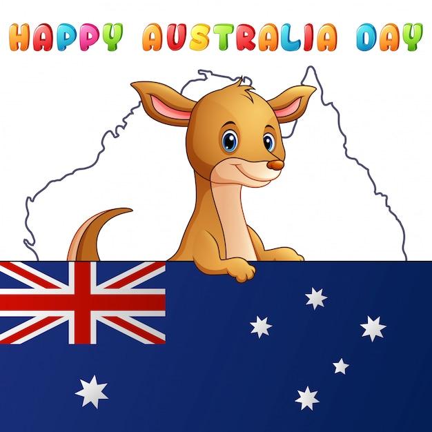 Kangourou mignon dessin animé derrière un drapeau sur fond de carte Vecteur Premium