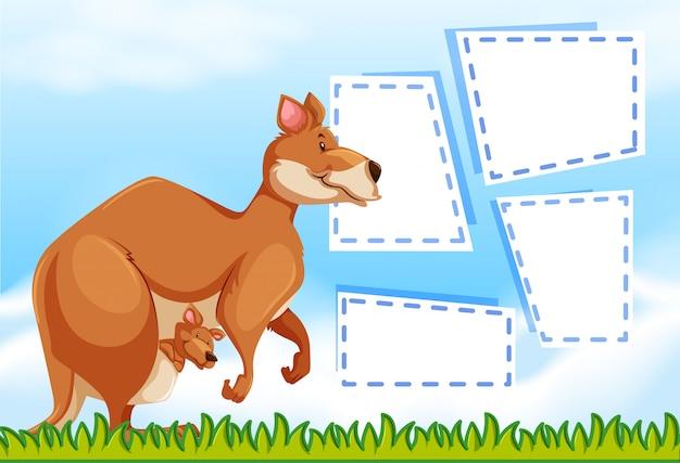Un kangourou sur un modèle de note Vecteur gratuit