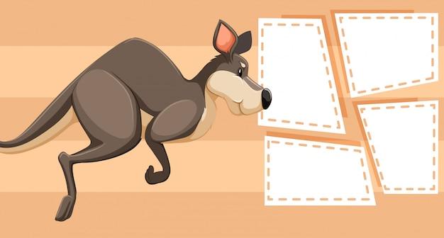 Kangourou sur modèle de note Vecteur gratuit