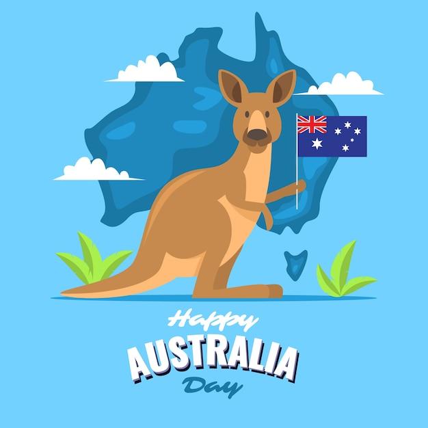 Kangourou Tenant Un Drapeau Le Jour De L'australie Vecteur gratuit