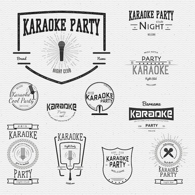 Karaoké badges logos et étiquettes Vecteur Premium