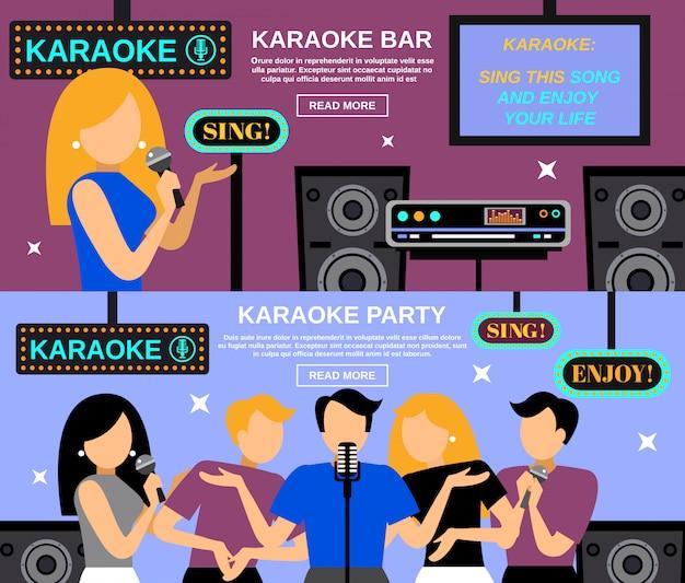 Karaoke banner set Vecteur gratuit