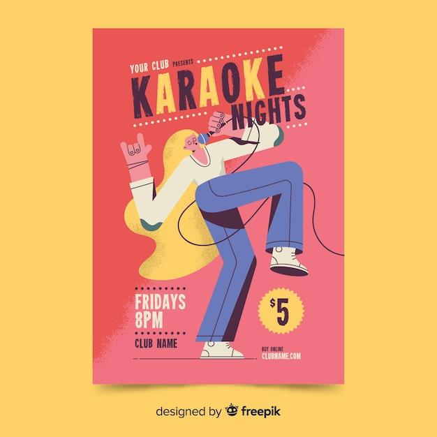 Karaoke party affiche design dessiné à la main Vecteur gratuit