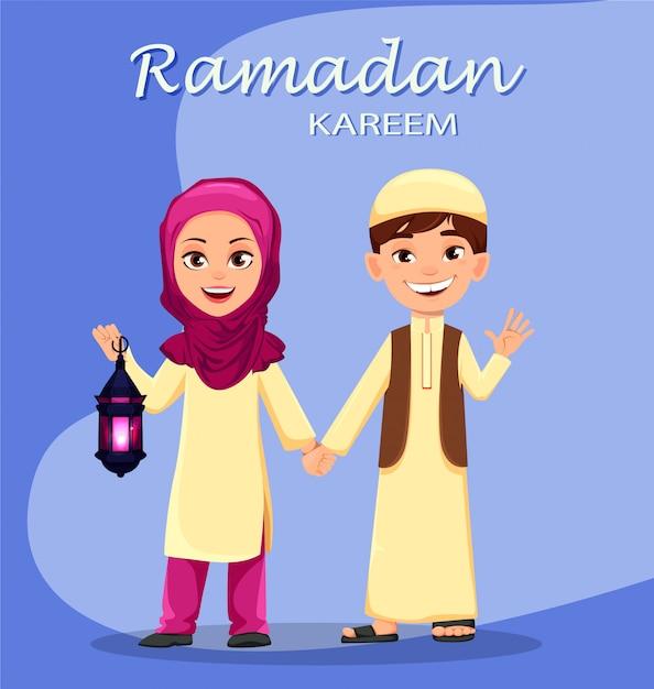 Kareem ramadan. mignon garçon et fille arabe Vecteur Premium