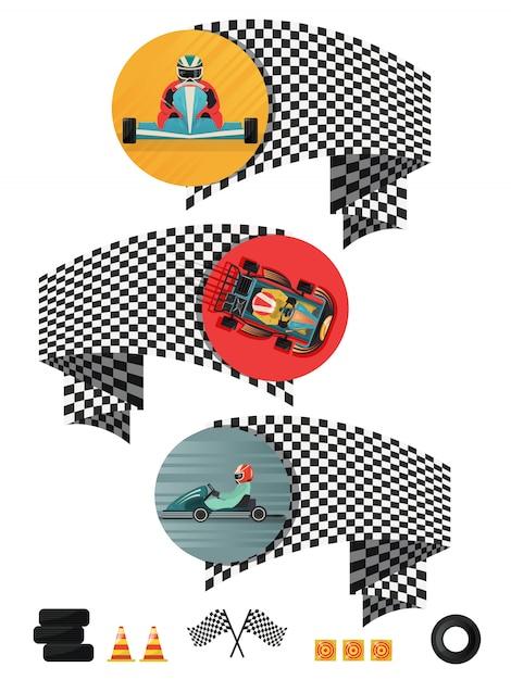 Kart Racing Concept Avec Drapeau à Damier Vecteur Premium