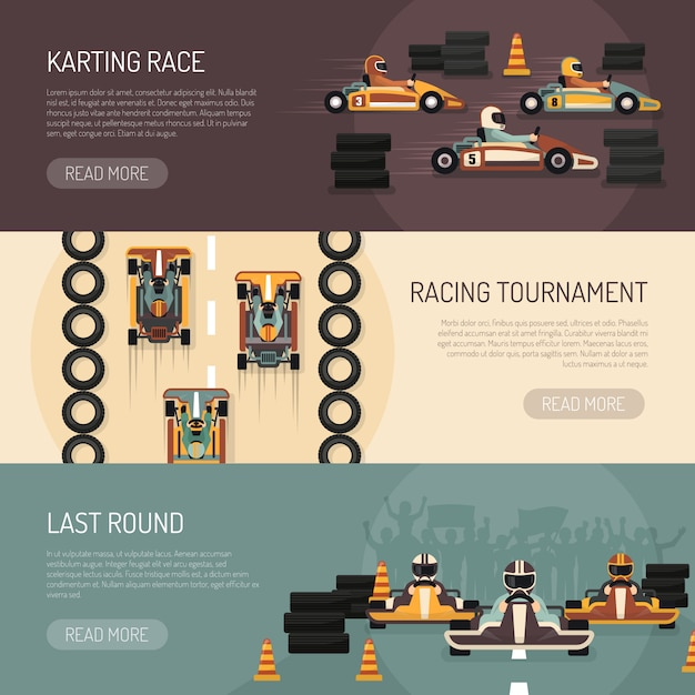 Karting motor race bannières Vecteur gratuit