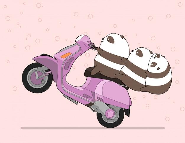 Kawaii 3 Pandas Fait De La Moto. Vecteur Premium