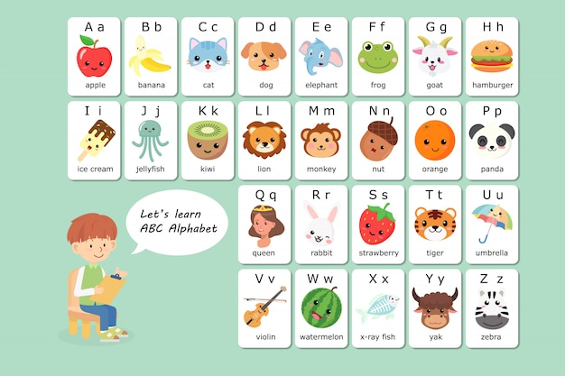 Kawaii Abc Anglais Vocabulaire Et Alphabet Flash Vecteur Premium