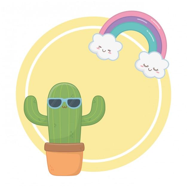 Kawaii de bande dessinée de cactus Vecteur Premium