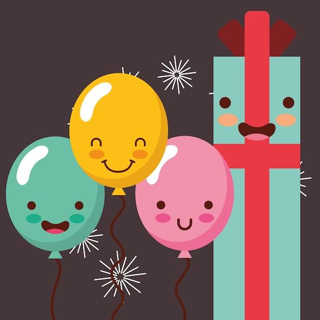 Kawaii Boîte Cadeau Dessin Animé Et Ballons Lumière