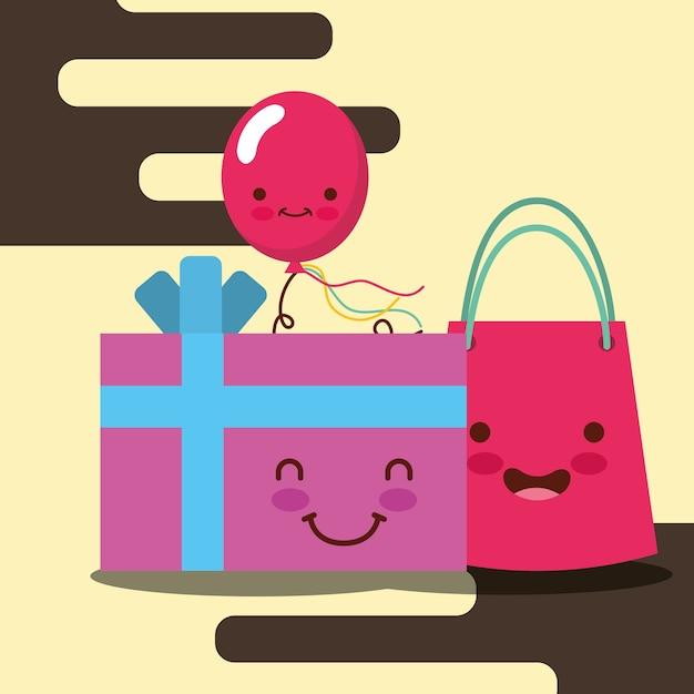 Kawaii Boîte Cadeau Sac De Dessin Animé Et Sourire Ballon