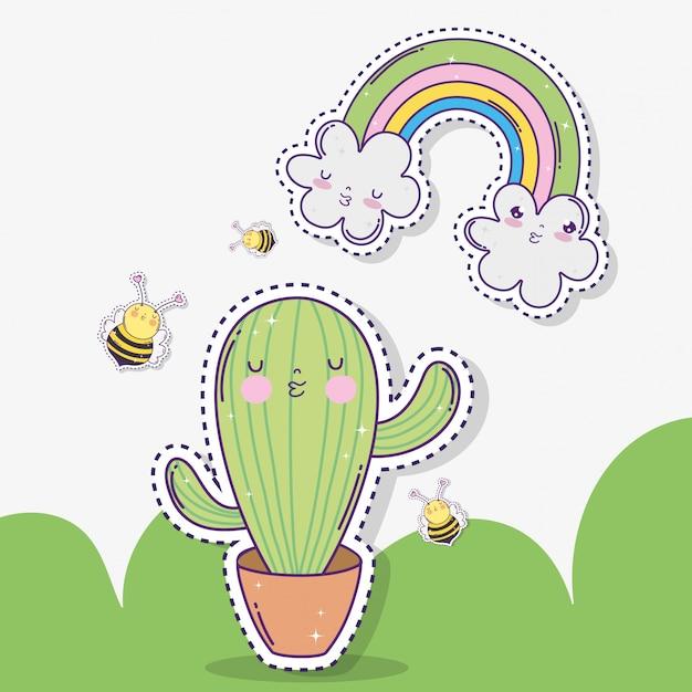 Kawaii cactus avec abeilles et nuages avec arc-en-ciel Vecteur Premium
