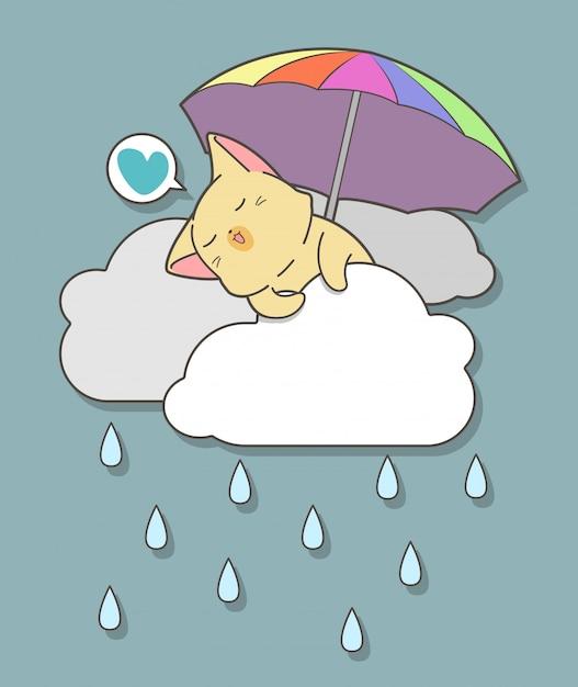 Kawaii cat tient un parapluie sur les nuages Vecteur Premium