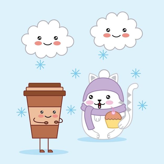 Kawaii chat mignon avec une tasse de café et des nuages dessin animé magique Vecteur Premium