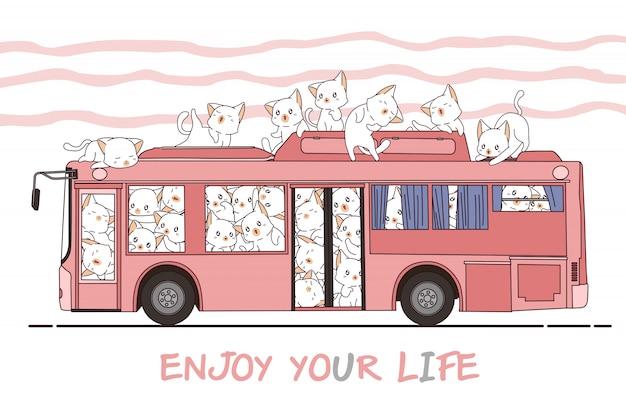 Kawaii chats et bus Vecteur Premium