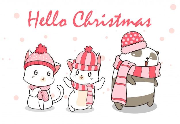 Kawaii chats et panda en tenue d'hiver Vecteur Premium