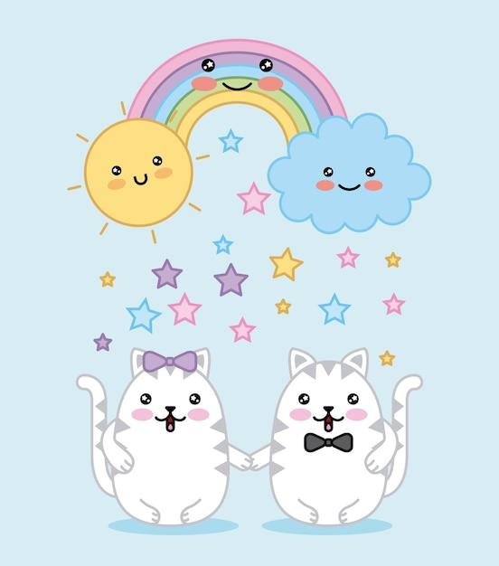 Kawaii couple chats arc-en-ciel nuage soleil dessin animé Vecteur Premium