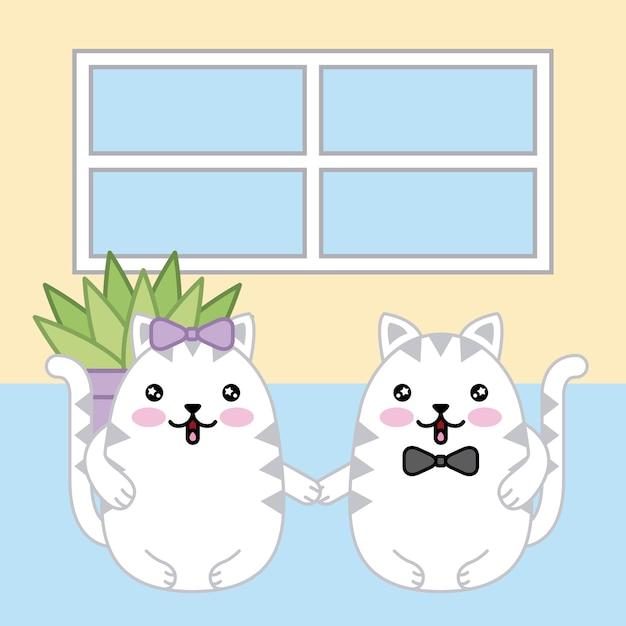 Kawaii couple chats tient les mains Vecteur Premium