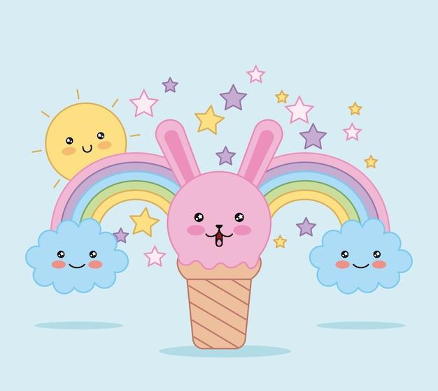 Kawaii Crème Glacée Lapin Figure Arc En Ciel Et Dessin Animé