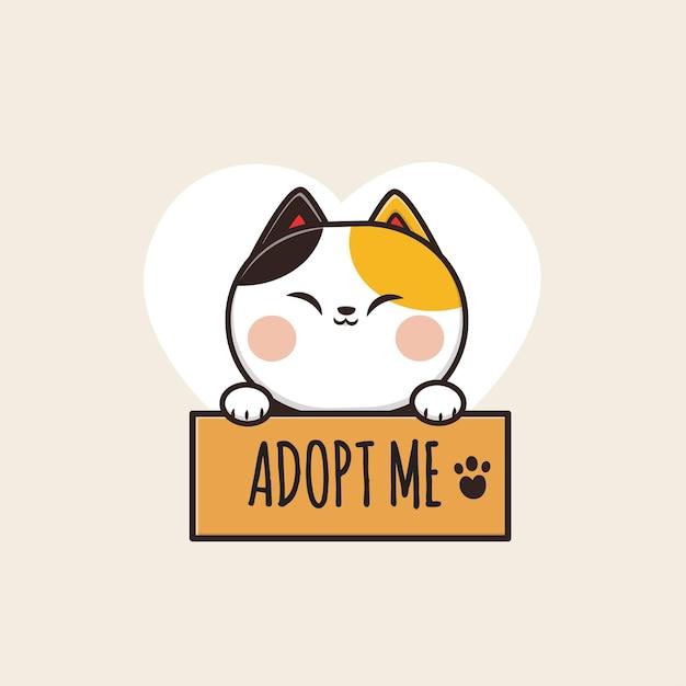 Kawaii Cute Adoptez Une Illustration De Chat Vecteur Premium