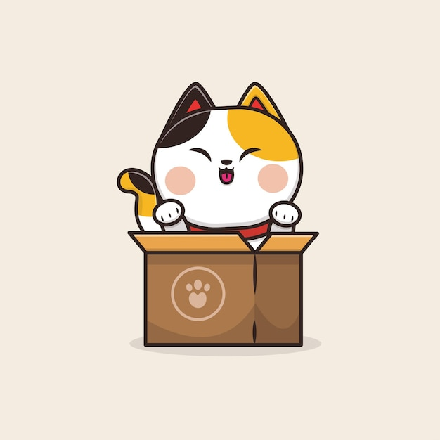 Kawaii Cute Animal Cat Neko Kitten Icône Mascotte Illustration Vecteur Premium