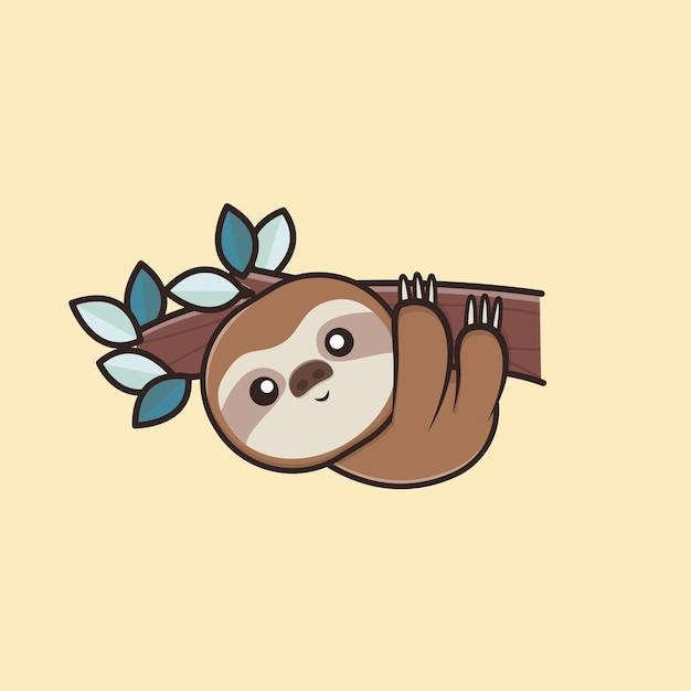 Kawaii Cute Animal Wildlife Paresseux Paresseux Icône Mascotte Illustration Vecteur Premium