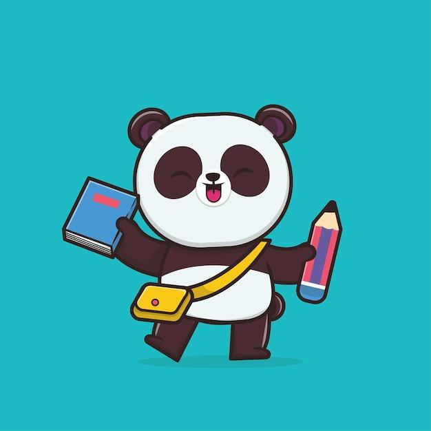 Kawaii Cute Panda Retour à L'école Vecteur Premium